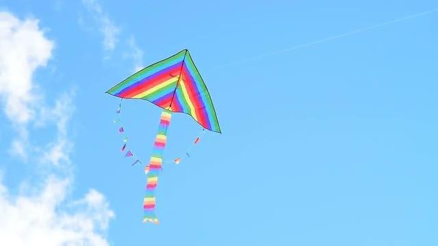 Big Rainbow Kite Flying : Stock Video