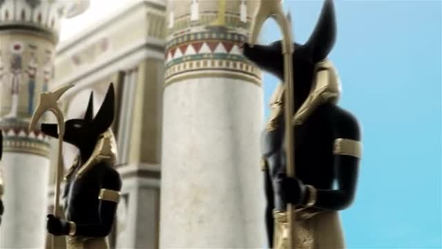 Anubis By Egyptian Columns Loop: Stock Motion Graphics