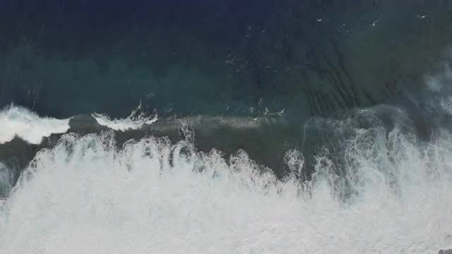 Aerial Shot Of Ocean Waves: Stock Video