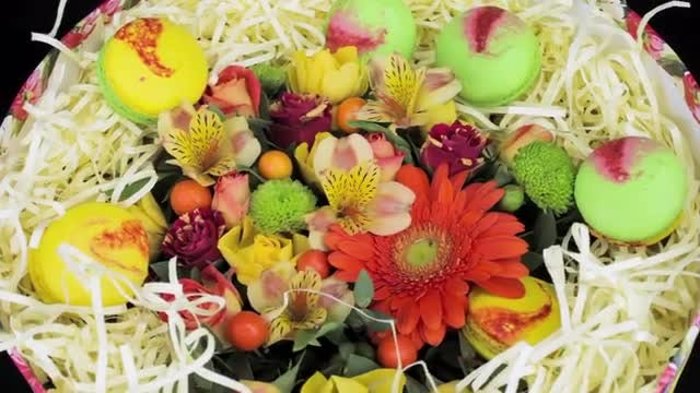 Bright Bouquet Of Flowers And Macaroon Gift Box: Stock Video