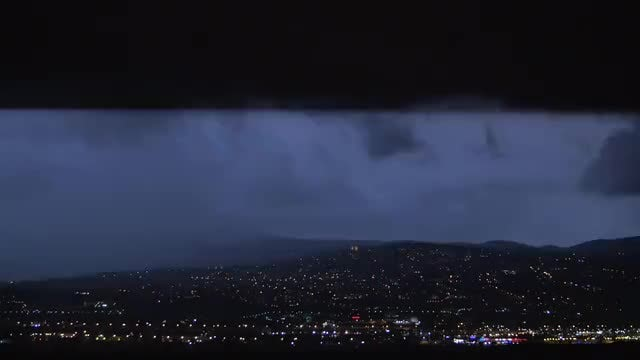 Storm Over The City At Night: Stock Video