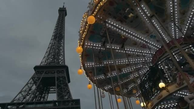 Eiffel Tower And Merry-Go-Round: Stock Video