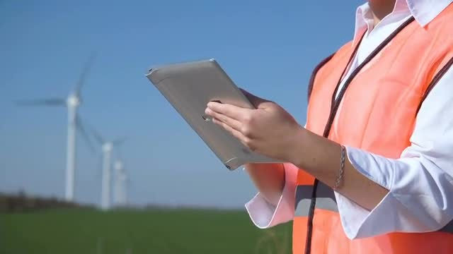 Wind Power Engineer With Tablet: Stock Video