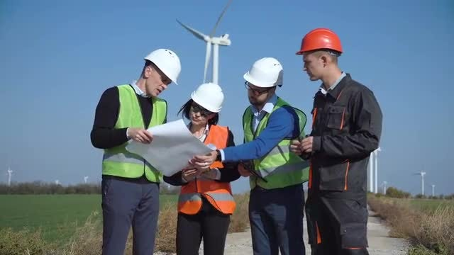 Engineers Create Wind Farm Project: Stock Video