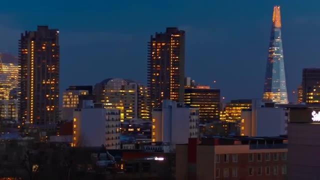 Bright London Skyline At Night: Stock Video