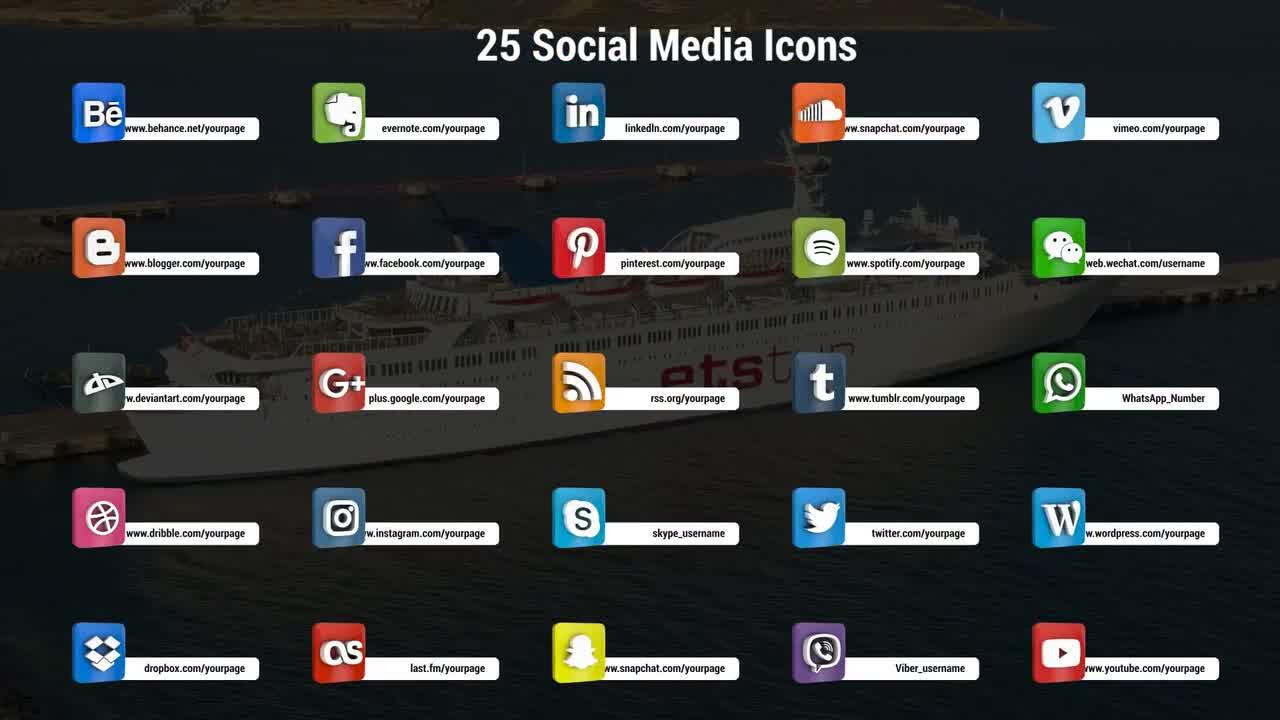 3D Social Media Icons - Premiere Pro Templates 90138