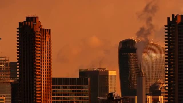 Golden Hour Pollution In London: Stock Video