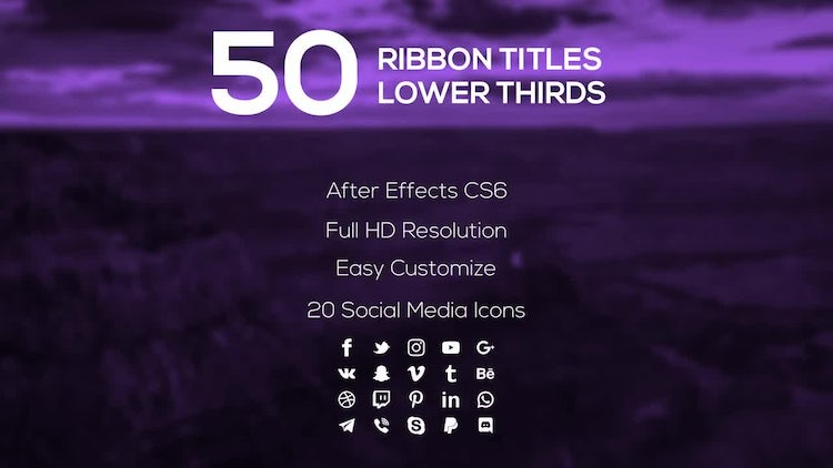 50 Ribbon Titles & Lower Thirds: After Effects Templates