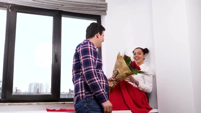 Woman Receiving Flower Bouquet: Stock Video