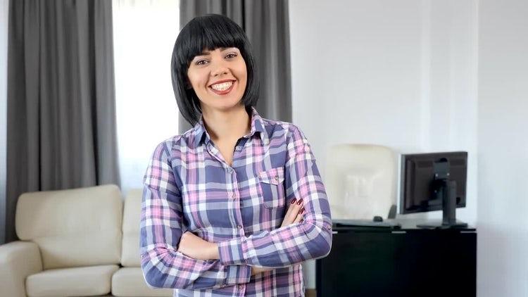 Medium Shot Of Woman Laughing: Stock Video