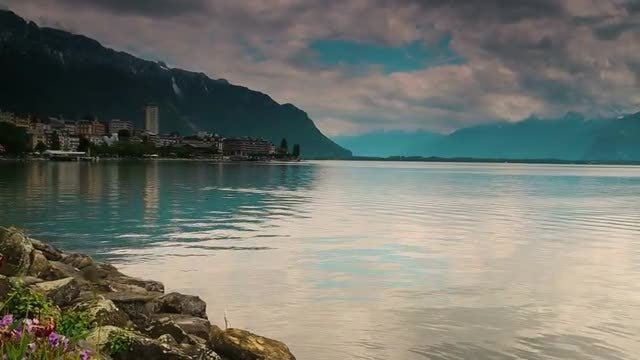 Panning Shot Of Lake Geneva: Stock Video