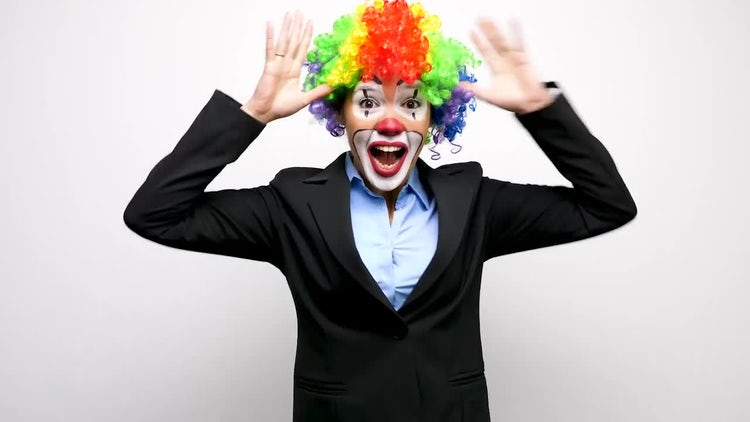 Smart Clown Making Silly Faces: Stock Video