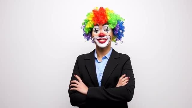 Female Clown In Business Suit : Stock Video