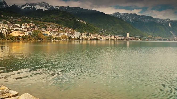 Bay Of Montreux In Switzerland: Stock Video