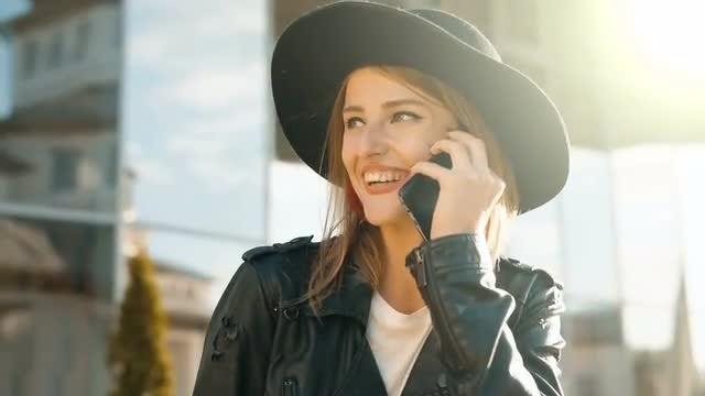 Beautiful Girl Taking Phone Call : Stock Video