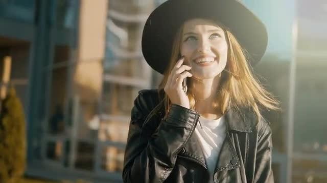 Happy Girl Talking On Phone: Stock Video