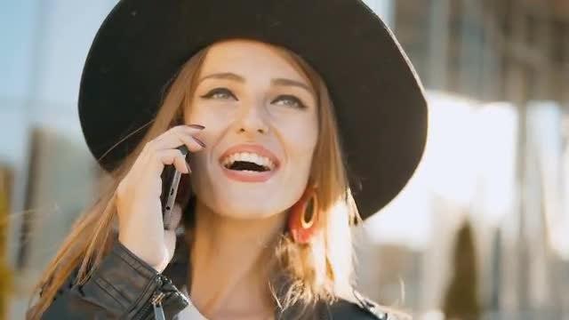 Happy Girl Talking On Phone : Stock Video