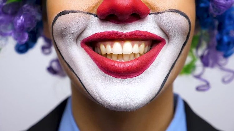 Close-up Of Female Clown Smiling : Stock Video
