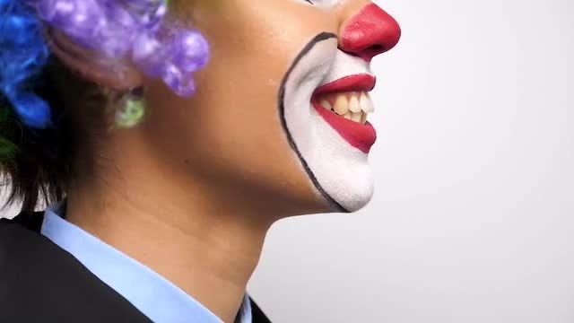 Profile Shot Of Female Clown : Stock Video