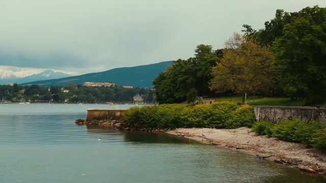 Panning Shot Of Lake Geneva: Stock Video