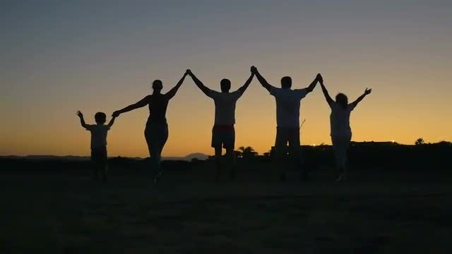 Big Friendly Family Silhouetted At Sunset: Stock Video