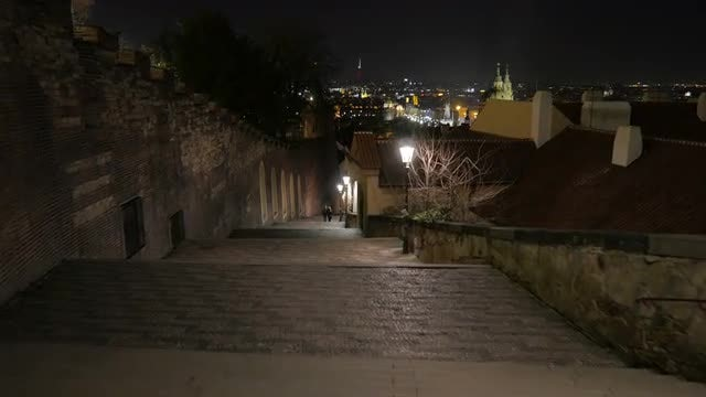 Point Of View Shot Of Prague Castle Stairs : Stock Video