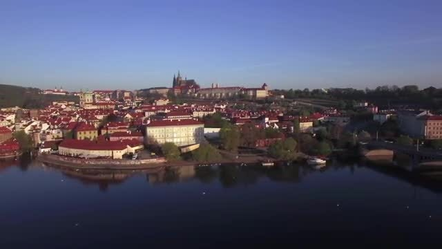 The Vltava River Bank: Stock Video