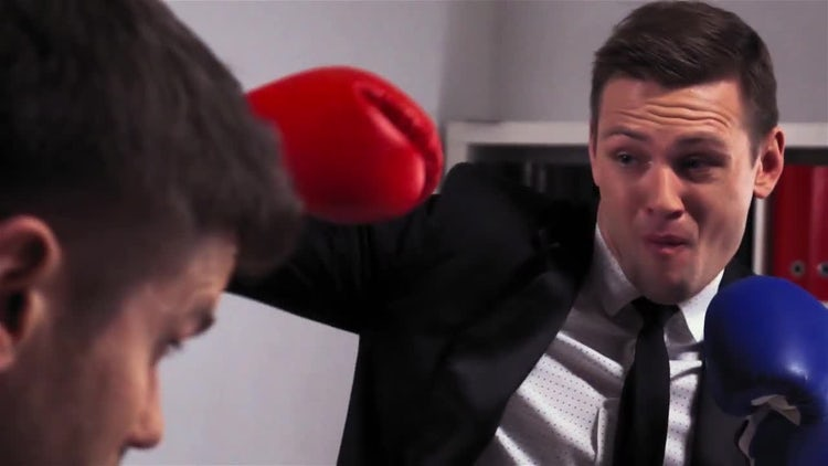 Two Businessmen Boxing In Suits: Stock Video