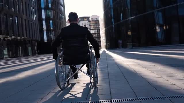 PWD Businessman In Business District: Stock Video