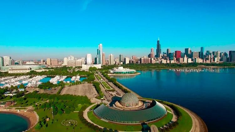 Aerial Picturesque Of Chicago Waterfront: Stock Video