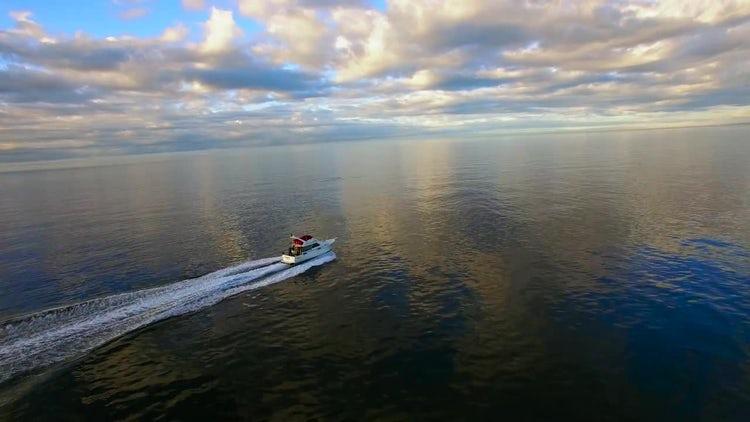 Motor Boat In Calm Sea : Stock Video