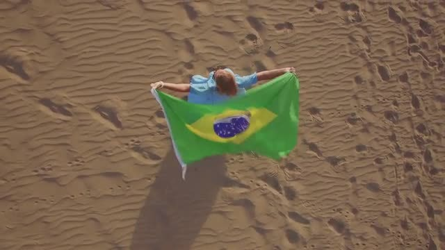 Woman Waving Brazilian Flag : Stock Video