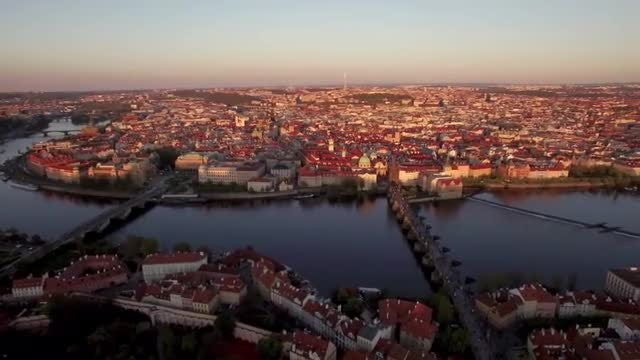 Prague And Vltava River At Sunset: Stock Video