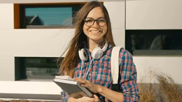 Female College Student Smiling : Stock Video