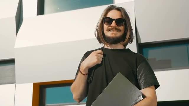 Portrait of Happy Male Student: Stock Video