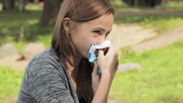 Sick Girl Wipes Nose : Stock Video