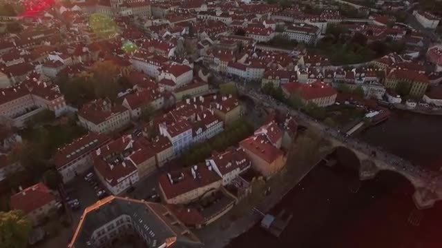 Aerial Shot Of Vltava River: Stock Video