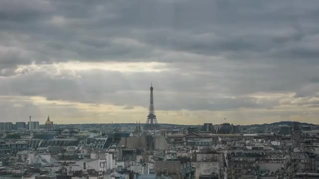 Huge Clouds Moving Over Paris: Stock Video