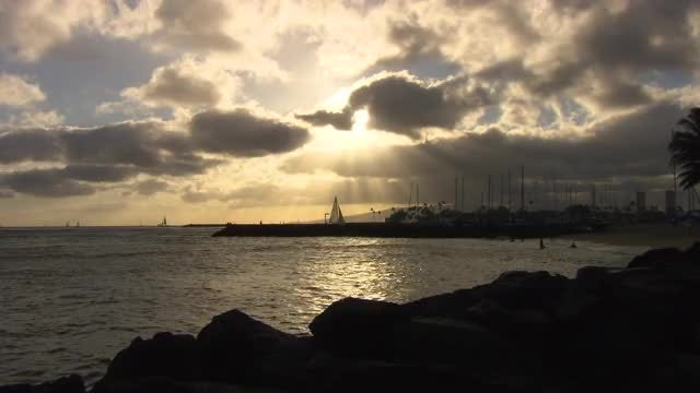 Calm Harbor At Sunset: Stock Video
