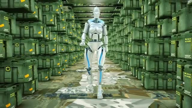 Futuristic Humanoid Robot Walking : Stock Motion Graphics