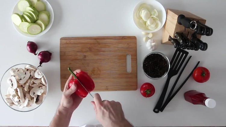 Man Cutting Sweet Red Pepper : Stock Video