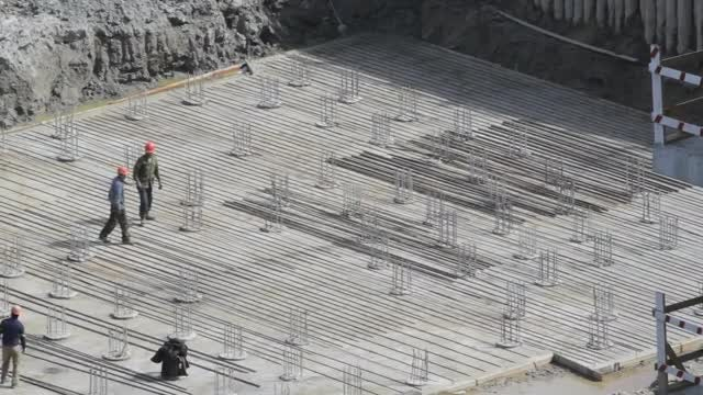 Builders Working On Foundation: Stock Video