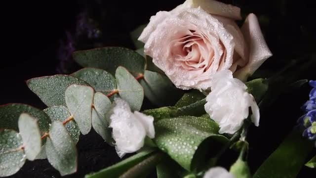 Bouquet Of Flowers With Dewdrops : Stock Video