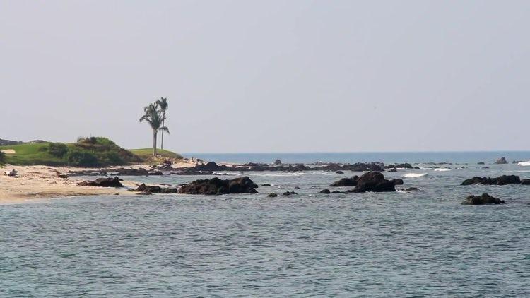 Empty Windy Rocky Beach : Stock Video