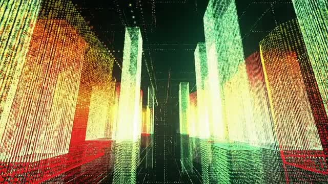 Flying Over The Matrix City: Stock Motion Graphics