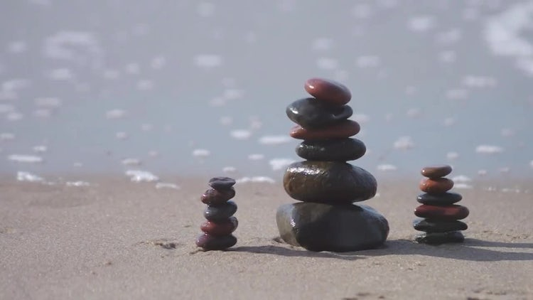 Smooth Stones On Beach Sand: Stock Video