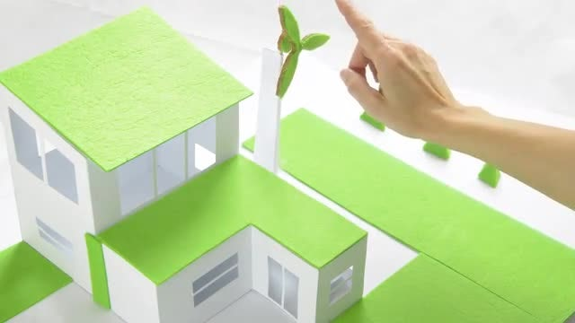 Model Of Home And Windmill: Stock Video