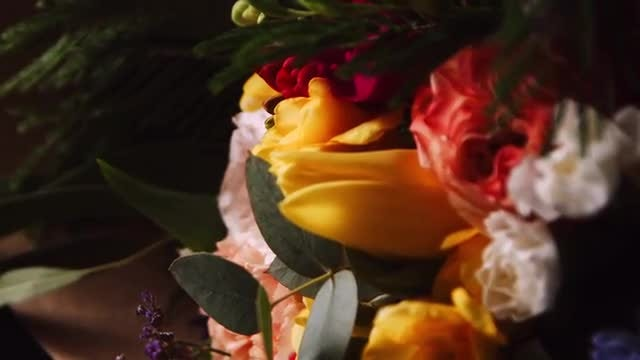 Close-up Of Rotating Flower Bouquet : Stock Video