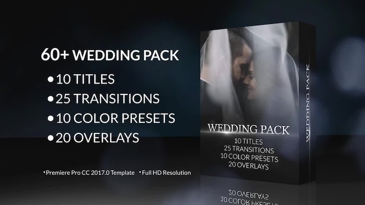 60+ Wedding Pack: Titles, Transitions, Color Presets: Premiere Pro Templates