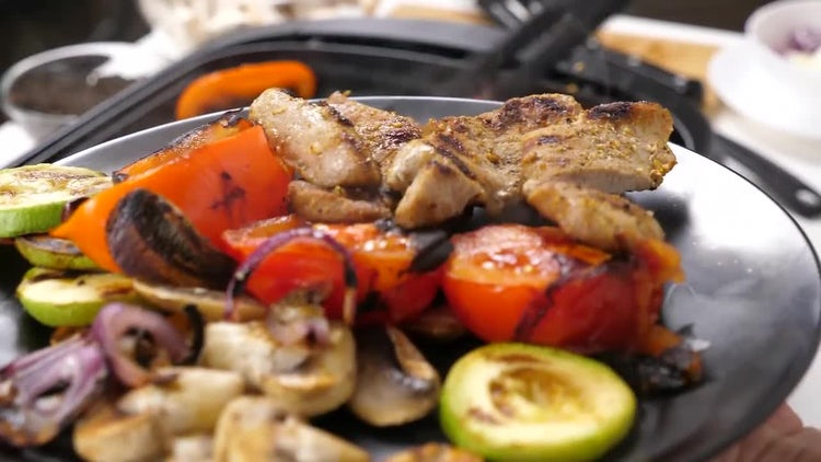 Grilled Meat And Vegetables: Stock Video